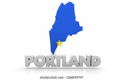 Porland ME Maine City State Map 3d Illustration