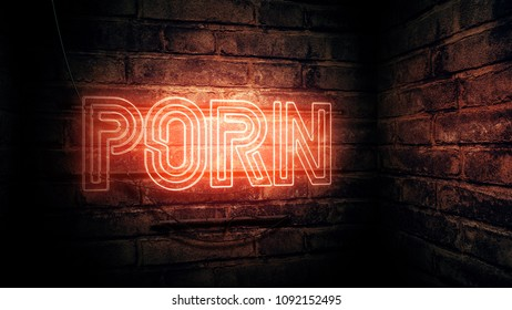 Porn neon sign, conceptual 3d rendering illustration
