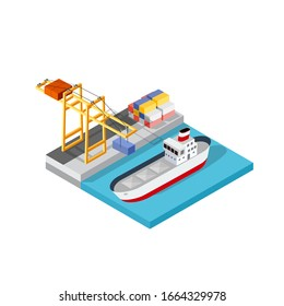 Port cargo ship transport logistics seaport template with an 3d illustration