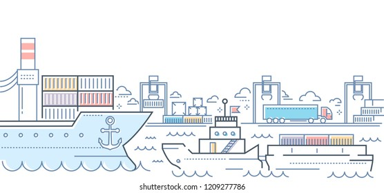 Port - modern line design style colorful illustration