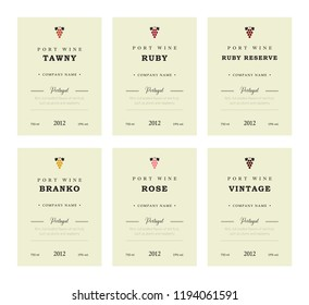 Port wine labels. premium template set. Clean and modern design. Towny, Ruby, Reserve, Branco, Rose, Vintage. Red and White wine. National Portuguese Wine