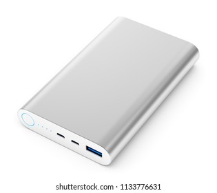 Portable external rechargeable mobile device battery charger. Gray metallic USB power bank for smartphones and tablet computers charging isolated on white background. 3D illustration