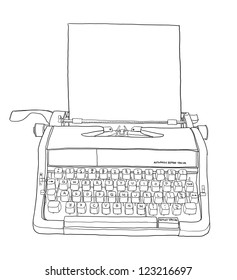 portable manual typewriter  and paper line art
