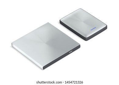 Portable optical disc drive and hard drive on white background, 3D illustration
