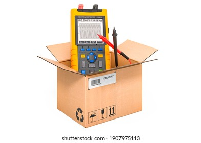 Portable oscillograph inside cardboard box, delivery concept. 3D rendering isolated on white background