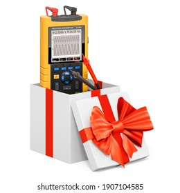 Portable oscillograph inside gift box, present concept. 3D rendering isolated on white background