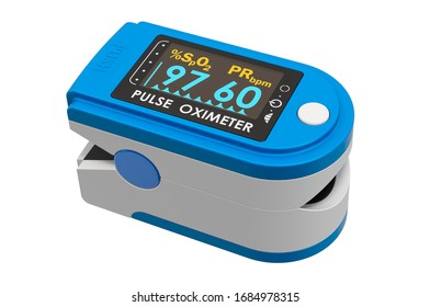 Portable Pulse Oximetry, pulse oximeter fingertip. 3D rendering isolated on white background