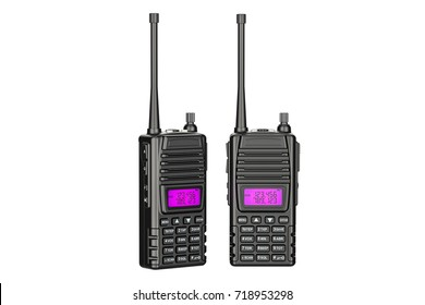 portable radios walkie-talkie, 3D rendering isolated on white background