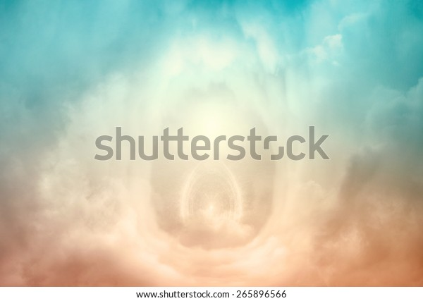 Portal to heaven, blue and golden clouds