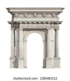 Portal in neoclassical style isolated on white with arch and doric column - 3d rendering