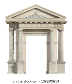 Portal in neoclassical style isolated on white with doric column and tympanon - 3d rendering
