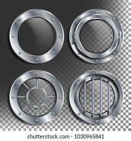 Porthole. Round Silver Window With Rivets. Bathyscaphe Ship Metal Frame Design Element. For Aircraft, Submarines. Illustration