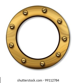 Porthole or ship window as a nautical and marine symbol of a cruise sailboat or boat passenger cabin window made of gold brass metallic circular frame with screws on a white background with a shadow.