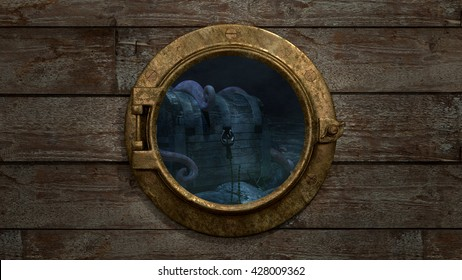Porthole - Treasure Chest View An old fashioned porthole looking out at an underwater treasure chest with a large octopus draped on it. 3d render.