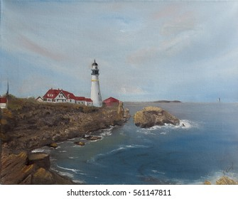 Portland Head Light, Cape Elizabeth on canvas,  Lighthouse oil painting
