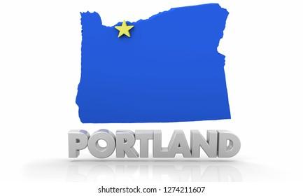 Portland OR Oregon City State Map 3d Illustration