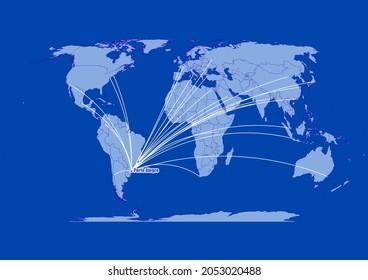 Porto Alegre-Brazil,connections of Porto Alegre-Brazil to other major cities around the world.