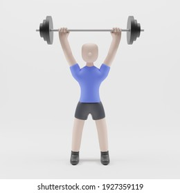 Portrait of a 3d man lifting a barbell, on white background