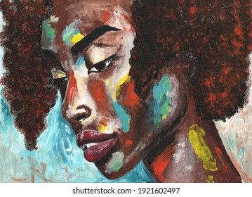 Portrait of african woman in graffiti style. Black lives matter
