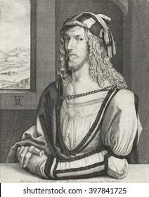 Portrait of Albrecht Durer, by Wenceslaus Hollar, 1645, Belgian print, etching on paper. Copied from original self-portrait of 1498 by Durer at age 26