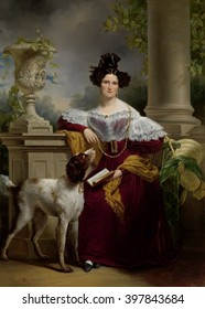 Portrait of Alida Christina Assink, by Jan Adam Kruseman, 1833, Dutch painting, oil on canvas. Society painter Kruseman depicts his fashionable subject in a deep red dress with puffed sleeves, emphati