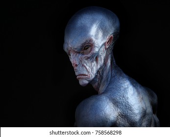 Portrait of an alien creature with its back turned against the camera, 3D rendering. Black background.