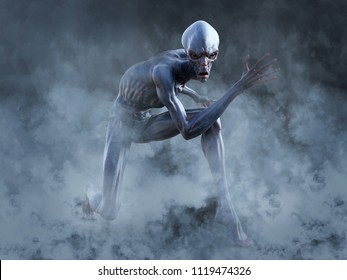 Portrait of an alien creature crouching and looking very angry, ready to attack, 3D rendering. He is surrounded by smoke or fog.