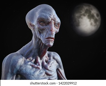 Portrait of an alien creature gazing into space with stars and a planet or moon in the background, 3D rendering.