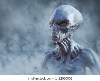 Portrait of an alien creature surrounded by smoke while gazing into the future, 3D rendering.