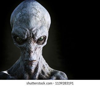 Portrait of an alien male extraterrestrial on a dark background. 3d rendering