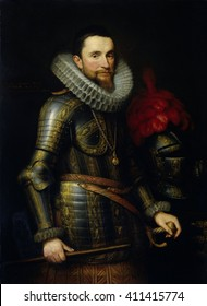 Portrait of Ambrogio Spinola, by Michiel Jansz van Mierevelt, 1609, Dutch painting, oil on canvas. Spinola, Commander in Chief of the Spanish troops in the southern Netherlands. On a chain around his