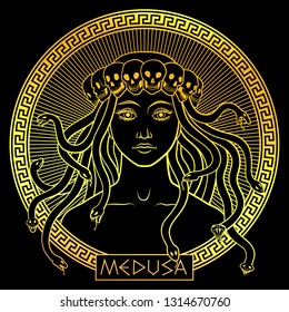 Portrait of ancient Greek mythical character Medusa Gorgona wearing a crown of skulls, in a round meander frame. Golden on black