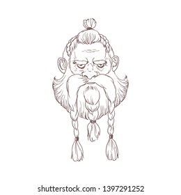 Portrait of angry Scandinavian warrior or berserker with braids hand drawn with outlines on light background. Head of god Odin, Beowulf or legendary Nordic hero. Monochrome illustration.