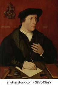 Portrait of an Anonymous Man, by Jan Jansz Mostaert, 1535, Netherlandish Renaissance, oil on panel. The man is writing at a table against a red ground with a coat of arms and inscriptions in Latin and