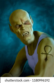 Portrait of bald vampire with an ank cross tatoo in his arm. 3D Illustration.