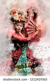 Portrait of balinese dancer, photo filtered blending with watercolor handpainted on photoshop