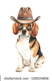 Portrait Beagle of a dog. Watercolor hand drawn illustration. Watercolor painted Beagle with cowboys Hat Sheriff's and sunglasses layer path, clipping path isolated on white background.