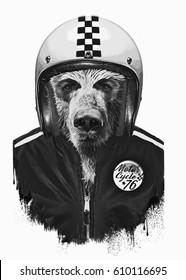 Portrait bear with helmet , illustration, motorcycle