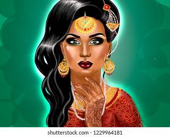 Indian Makeup Look Stock Illustrations, Images \u0026 Vectors