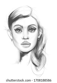 Portrait of a beautiful fashionable girl on a white sheet background sketch style illustration