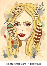 Portrait of beautiful girl with feathers in her hair. Fashion illustration on textured background. Print for T-shirt