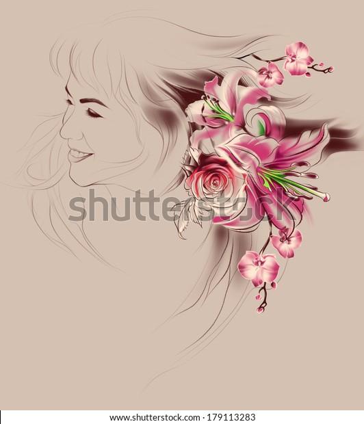 Portrait Beautiful Girl Flowers Her Hair Royalty Free