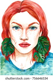 portrait of a beautiful girl with a watercolor paint. femininity, fashion and style.