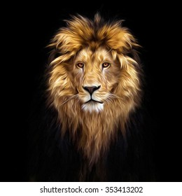 Portrait of a Beautiful lion, in the dark, oil paints