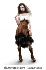 Portrait of a beautiful steampunk woman in casual clothing with a white background. 3d rendering
