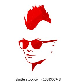 Portrait of beautiful woman in black sunglasses. Mohawk hair style. Connected lines with dots.