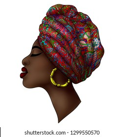 Portrait of beautiful young african woman in traditional turban with ethnic geometric ornament  on a white background.