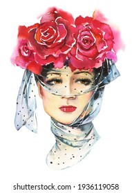 Portrait of a beautiful young lady with a veil and flowers in her hairstyle. Watercolor fashion illustration in vintage style. Girl face isolated on white background.