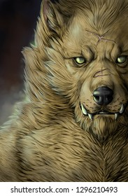 Portrait of a blonde werewolf with big teeth and scars