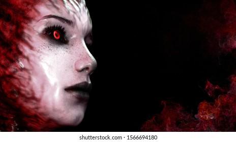 Portrait of a bloody princess imp. 3d render